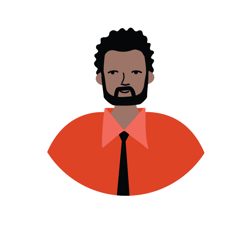 Illustration of a male wearing an orange shirt and tie, with the word employer.