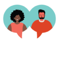 Illustration of two people in a chat bubble with the word support..
