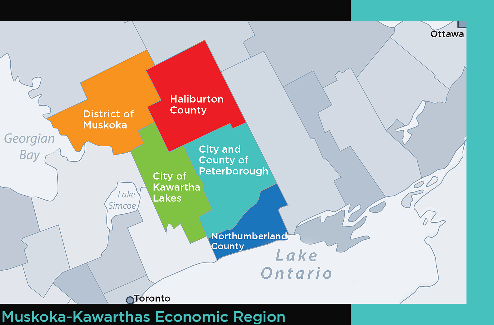 Map of Ontario that highlights the areas of Muskoka, Haliburton, Kawartha Lakes, Peterborough and Northumberland.